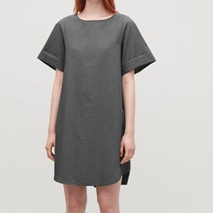 COS light weight grey cotton A-line dress in Sz 4